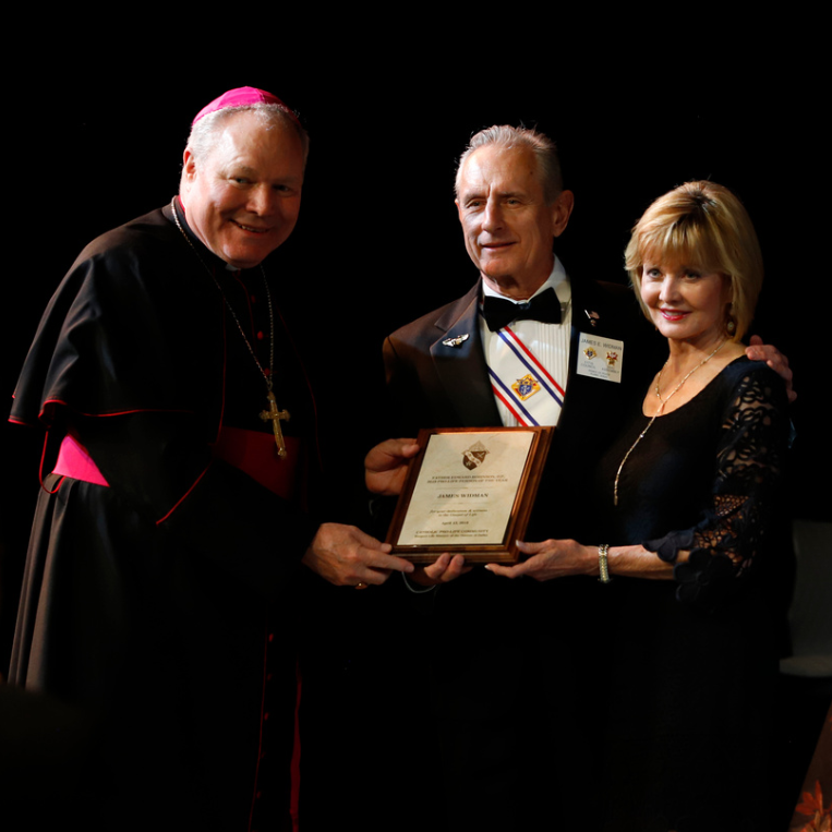 Bishop Burns with Pro-Life Person of the Year James Widman