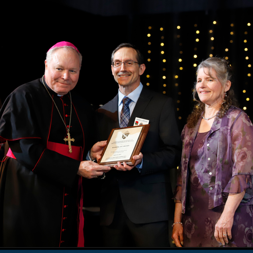 Bishop Burns with Pro-Life Person of the Year Randy Le Grand