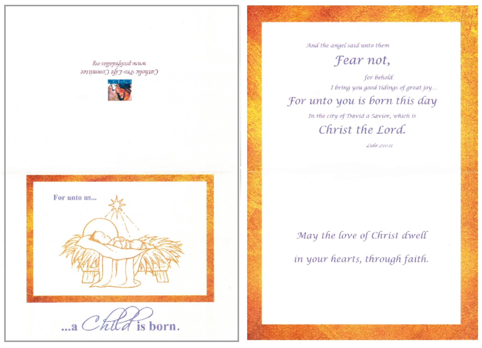 Catholic pro life committee christ child christmas card m4hsunfo